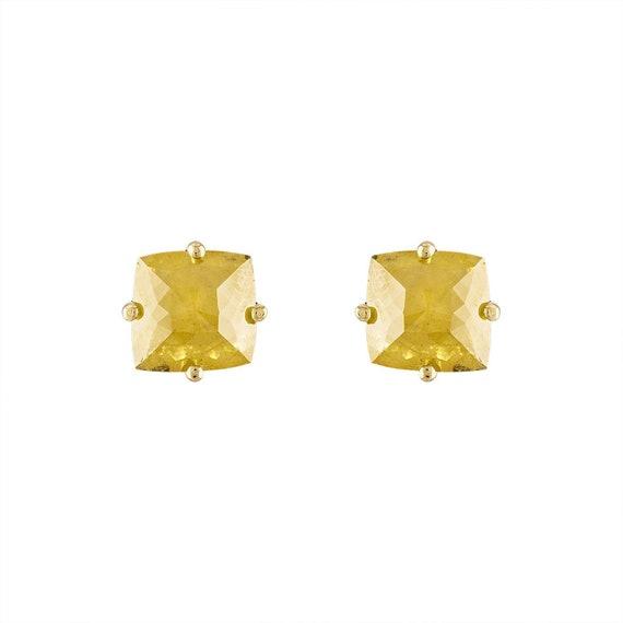Estate 18K Yellow Gold Yellow Diamond Slice Studs