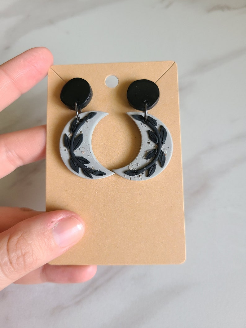 LUNA in black and grey polymer clay earrings