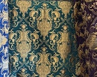 """Upholstery Damask Chenille Fabric, Luxury Drapery Fabric - Sold by The Yard - 58"""" Wide (Red, Blue, Purple)"""