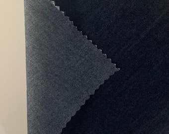 """4oz Washed Denim Fabric - 100% Cotton - Rinse Color (Dark Blue Jean) - Thin & Lightweight - 60"""" Wide - Sold by the Yard"""