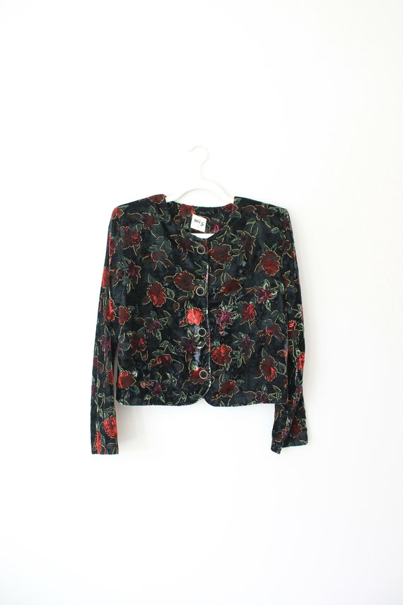 Vintage Velvet Jacket, Floral Pattern, Size Medium