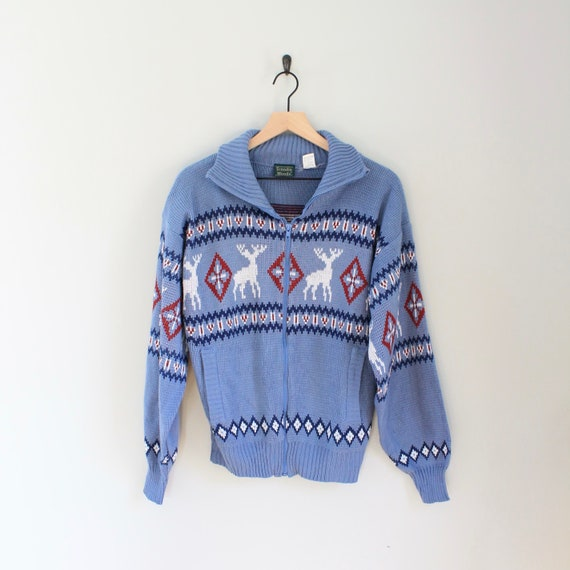 Vintage Deer Ski Sweater Cardigan, Size Small, Sca