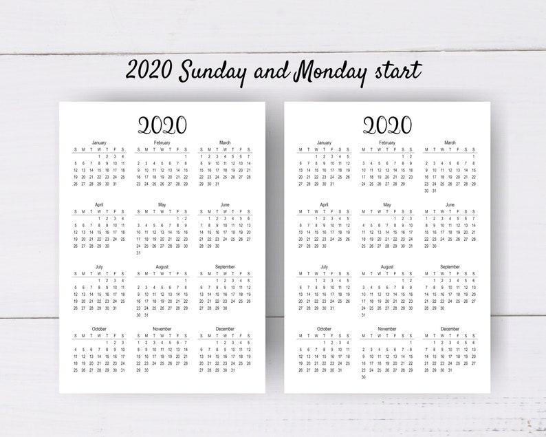 2020 2021 2022 Calendar PDF Printable Yearly Calendar | Etsy