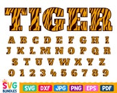Tiger Font Svg, Animal Patterned A-Z Letters,0-9 Numbers, Tiger Alphabet Svg Cut Files for Cricut, Silhouette Dxf Png Jpg Pdf Eps, Printable