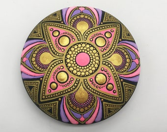 Mandala Rocks Stones Dot Painting Art Free Shipping - Hand Painted Rock - Paperweight  -  Mandala stone