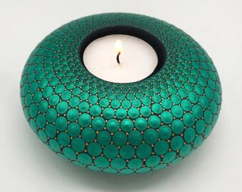 Mandala Tealight Candle Holder | Christmas Gift | Hand Painted  | Tea Light CandleHolder, Mandala Stone, Meditation Candle, Free Shipping