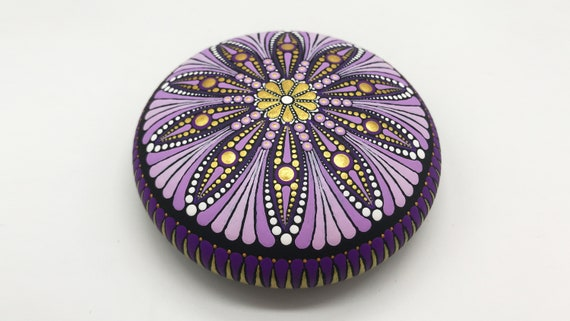 Mandala Rocks Stones Dot Painting Art Free Shipping - Hand Painted Rock - Paperweight  -  Mandalas Stone - Christmas Gift