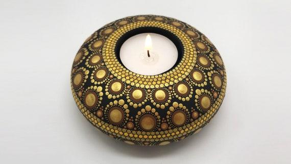 Mandala Tealight Candle Holder   Christmas Gift   Hand Painted    Tea Light CandleHolder, Mandala Stone, Meditation Candle, Free Shipping