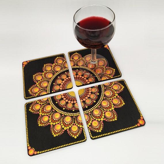 Set of 4 Hand Painted Mandala Coasters - Handmade - Wooden Coaster - Coffee Coasters - Tea Coasters - Epoxy Finish
