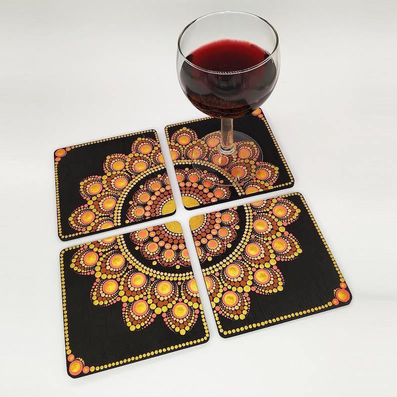 Set of 4 Hand Painted Mandala Coasters  Handmade  Wooden image 1