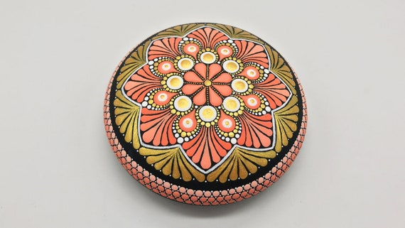 Mandala Rocks Stones Dot Painting Art Free Shipping - Hand Painted Rock - Paperweight  -  Mandala stone - Christmas Gift