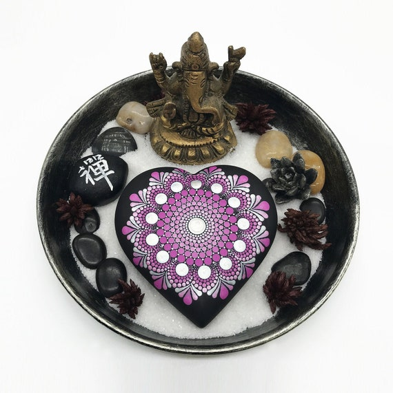 Unique and Original Saint Valentines Day Gift: Large heart Shaped Mandala Stone Hand Painted Dot Painting - Mandala Art - Dotting Art