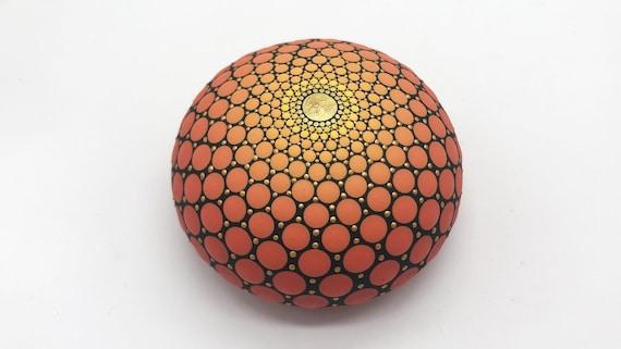 Mandala Stone Beach Pebble Dot Painting - Hand Painted Rock - Paperweight  -  Mandala stones