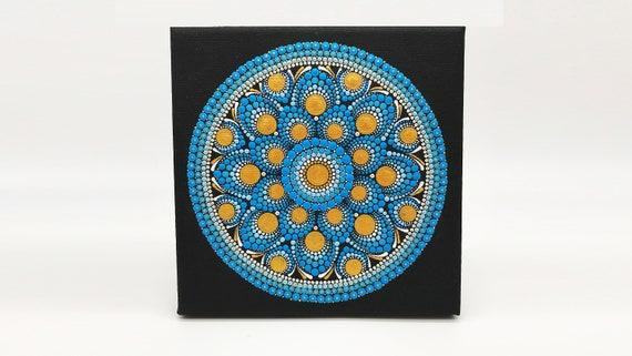 Mandala Canvas Painting  - Canvas Art -  Hand Painted - Mandala Wall Decor - Mandalas Art - Dot Painting -  Free Shipping
