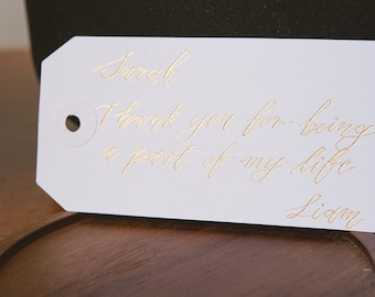 Wedding Favor Tags FS-048-2-F Cheers Foiled Lettering Favor Tag Custom Wedding Hang Tags Custom Wedding Tags