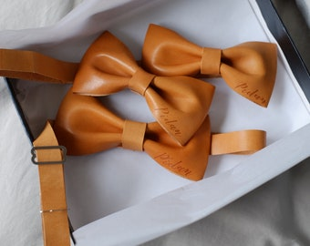 Personalised Leather Bow Tie and Bow Hair Clip Gift Set / gift for Family / new parents gift / Family accessories