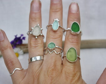 Custom Sterling Silver Sea Glass Ring. Design your own ring - green Sea foam Blue.