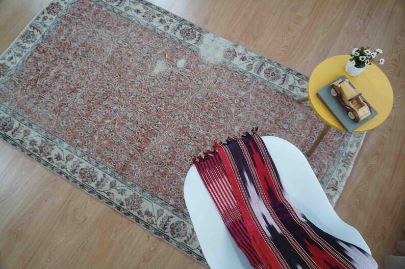 H-647A Vintage Turkish Rug Oushak Rug Distressed Rug Red Maroon Rug Anatolian Rug Retro Rug Boho Rug Handmade Rug Floor Rug 3.70/'x6.46/' ft