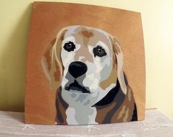 Spray painted 1' x 1' pet portrait