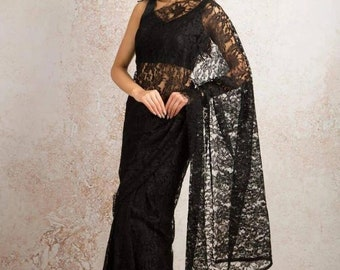 Paper Silk Saree Pipping Embroidery Sari Blouse Indian Bollywood Wedding Wear