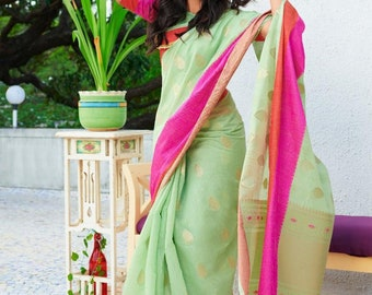 Latest Designer Pink Color Art Silk Saree Beautiful Floral Weaved Butta Indian Clothing Ethnic Antique Sarong Fabric Wedding Wear 5 Yards