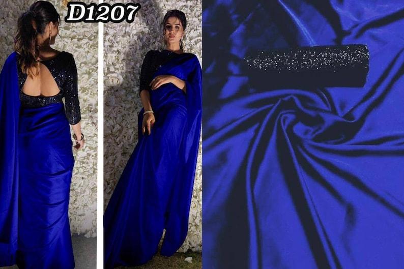 Royal Blue Color Satin Silk Exclusive Casual Wear Saree Looking Beautiful Work Blouse saree Bold And Beautiful Saree