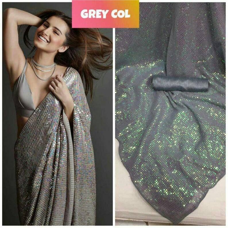 Grey Colore Bollywood Style Saree,Party Wear Saree,Exclusive Saree Wedding Wear Saree Attractive Sequence Work Saree With Satin Blouse