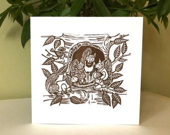 Family Tree - Original Linocut Greetings Card. Brown on White