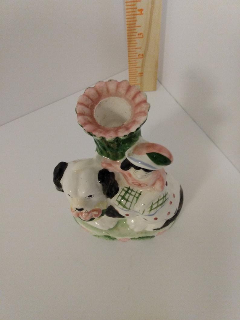 Girl with dog Made in Japan porcelain bud vase
