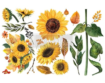 furniture transfer furniture decal embellishment by redesign with Prima rub on transfer Sunflower Farms BACK IN STOCK