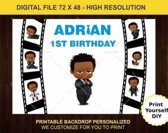 African American Baby boss Girl Birthday Party iron on Digital files only. Personalized Birthday Party Baby Boss Iron On Transfers