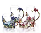 Hand-made Enamel Coffee Mug Crystal Cup Milk Lemon Flower Tea Cup High-grade Glass Drinkware Gift Couple Mug For Lover Wedding
