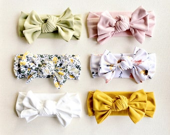 Large Hair Bows Toddler Baby Girl Micro Preemie Waffle Textured Gift. Sunflower Floral Stretchy Fabric Headband Wrap Infant Newborn