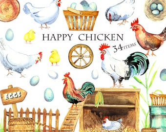 Watercolor Chickens Clipart, Farm Animals Clip art, Rooster, Hen, Bio Eggs, Coop, Chicks, Nest, Happy Chicken, Instant Download