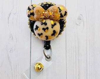 Leopard print mouse head badge reel