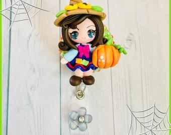 Adorable fall themed badge reel