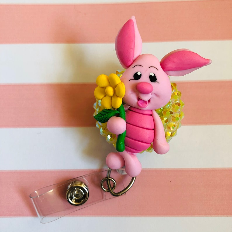 SALE Cute piglet inspired clay sculpted badge reel holder buddy lanyard clip