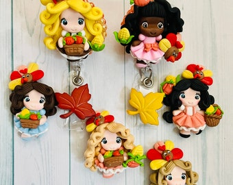 Adorable Thanksgiving/Fall  harvest cuties themed badge reel! Pick your girl