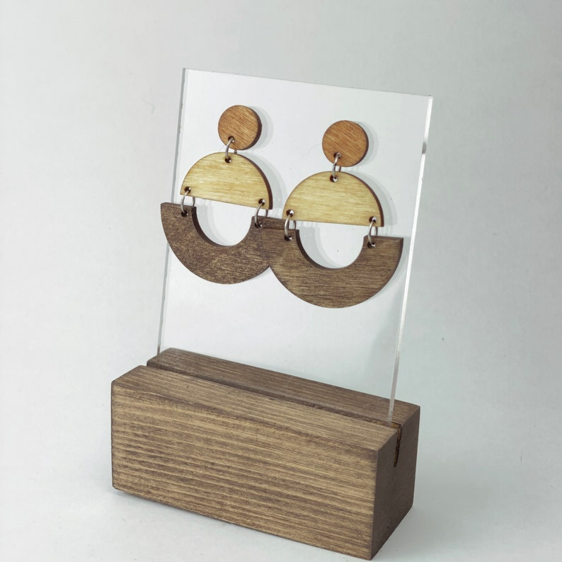 Wooden Geometric Dangle Earrings