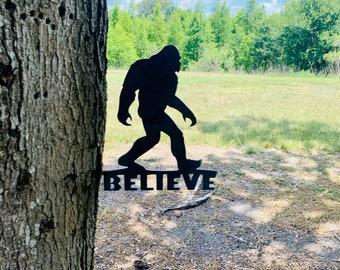 Metal Bigfoot/Metal Tree Art/Christmas Gift/Hand Made Metal Art/Rustic Outdoor Art/Under 30 Dollars/Free Shipping