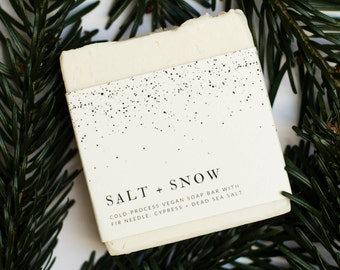 Salt + Snow vegan soap bar with Dead Sea salt and essential oils. 100% natural, palm-free, cruelty-free. Winter / Christmas gift