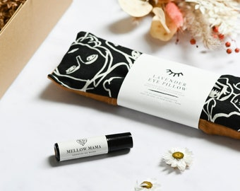 Mindfulness gift for her, anxiety relief, relaxation eye pillow, aromatherapy rollerball, self-care gift box.