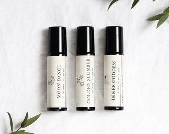 Gift set of 3 essential oil roll-ons, pamper gift for her, eco-friendly gift, self-care box.