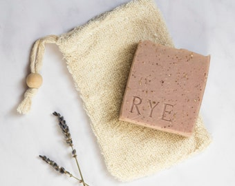 Gently exfoliating ramie soap saver bag UK. Soap gift. Eco-friendly gift.