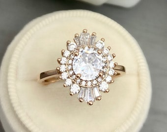 Rose Gold Alexandrite Cluster Halo Engagement Ring Sterling Silver Baguette And Round Simulated Diamond Starburst Art Deco Wedding Ring