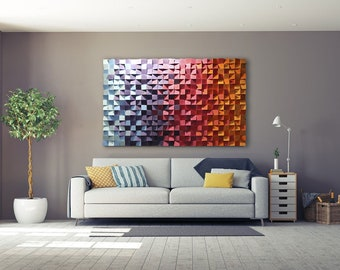 Sound Diffuser, Reclaimed Wood Wall Art, Wooden Wall Art, Geometric Wood Art, 3d Wood Wall Art, 3d Wall Art, Color Therapy