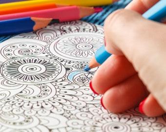 Mandala SVG, Adult Coloring Book Mandalas, Colouring Kid Teen Adult-Cutting Machine,Silhouette Cameo, Cricut, Commercial Use Digital Designs