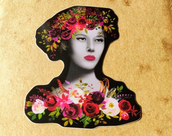 Monochrome Floral Woman Sticker, Large Laptop Sticker, Cute Stickers, Flower Stickers, Cute Stationery, Cute Sticker Pack, Magic Sticker