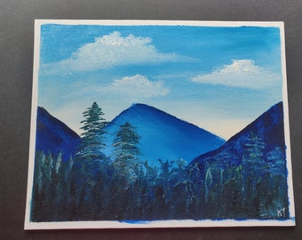 """Oil Painting Landscape, Original Artwork. Oil Paint on Canvas Board, Original Signed work. 8""""x10"""" Mountains and Forest Artwork"""