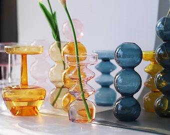 New Nordic Glass Vase Home Small Hydroponic Plant Glass Bottle Living Room Decor Dried Flower Decoration Transparent Flower terrarium Vase